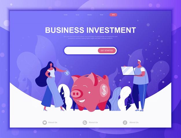 Business concept plat d'investissement, modèle web de page de destination