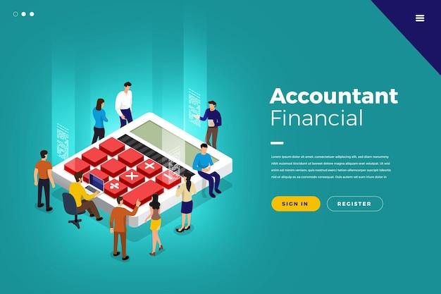 Business concept travail d'équipe des gens travaillant sur le développement des entreprises financières isométriques