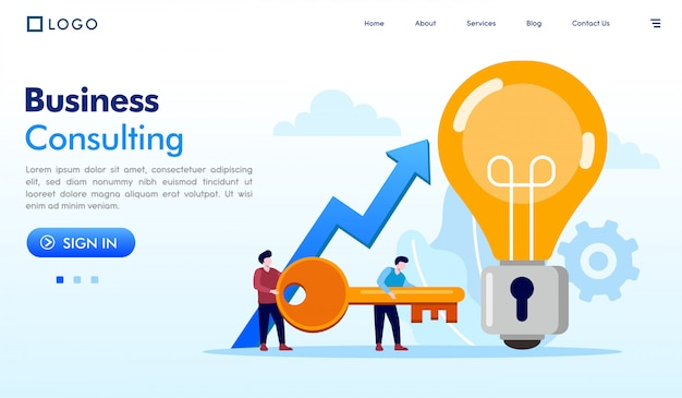 Business consulting illustration de site web page de destination