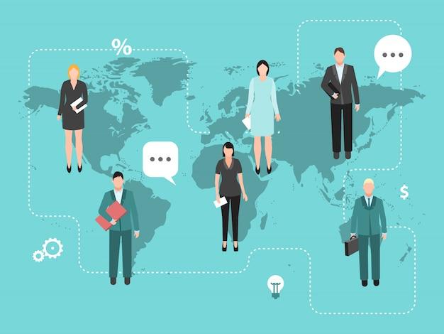 Business coworking sur l'illustration vectorielle de monde carte.
