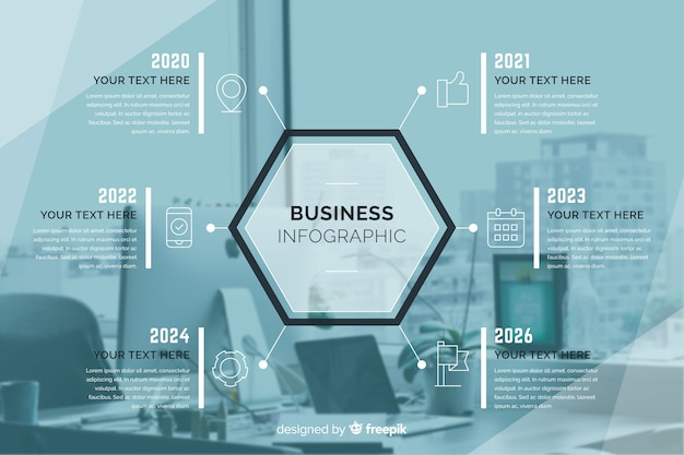 Business design plat infographique avec photo