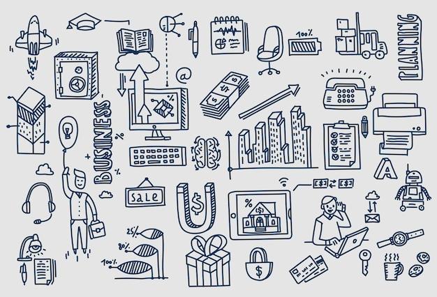 Business doodles éléments dessinés à la main.