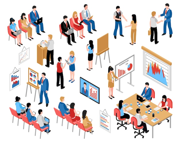 Business education et coaching isometric icons set