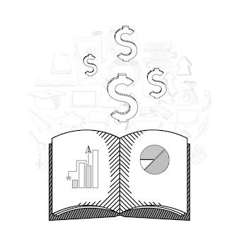 Business et éducation doodles dessiner à la main