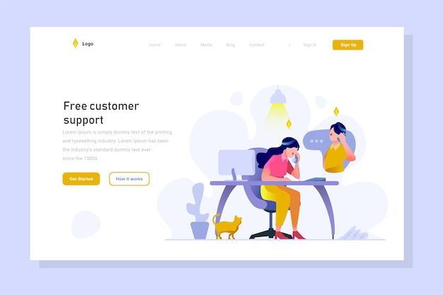 Business finance ecommerce admin customer service recevoir le client se plaindre du style de conception de contour plat