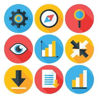 Business flat circle icons set avec longues ombres. icônes stylisées à plat web