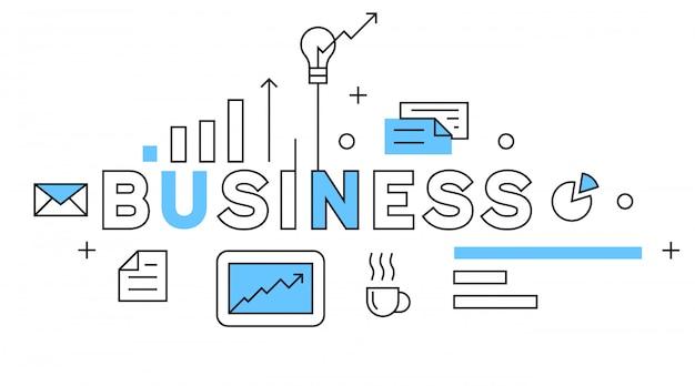 Business flat line design in blue