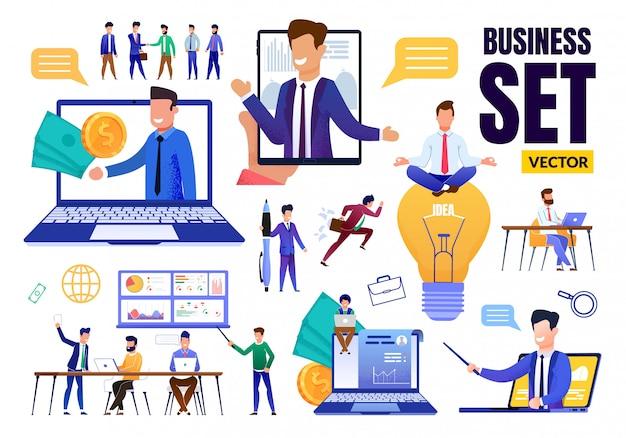 Business flat set plat avec des situations différentes