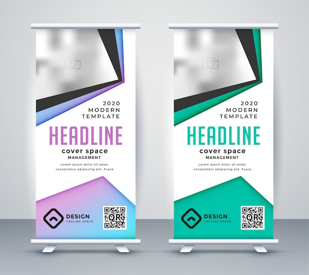 Business géométrique roll up banner template