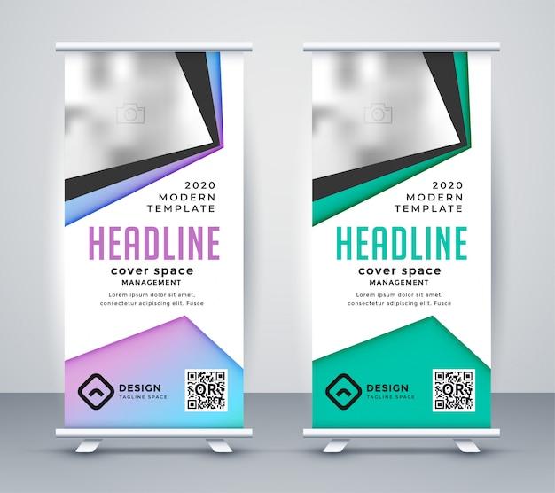Business Géométrique Roll Up Banner Template Vecteur gratuit