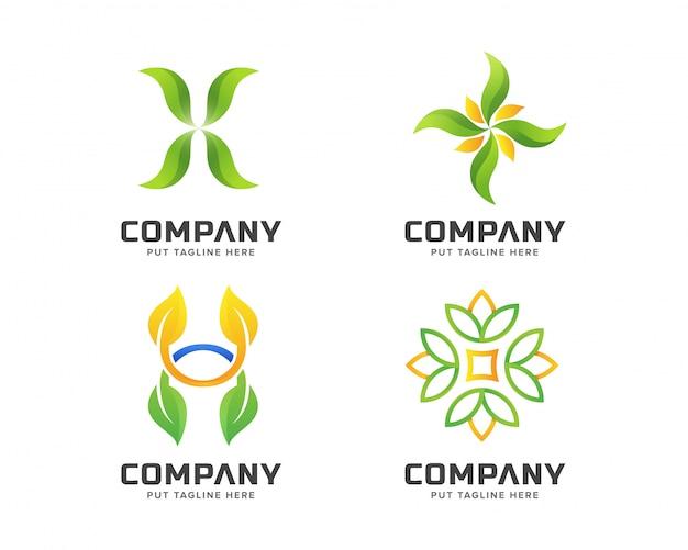 Business green nature, ensemble de modèles de logo spa