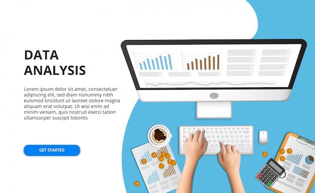 Business illustration concept pour la comptabilité financière, gestion, audit, recherche, travaillant au bureau