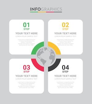 Business info-graphic template avec conception en 4 étapes.