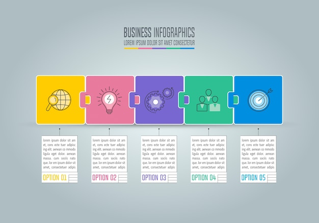 Business infographic avec 5 options.