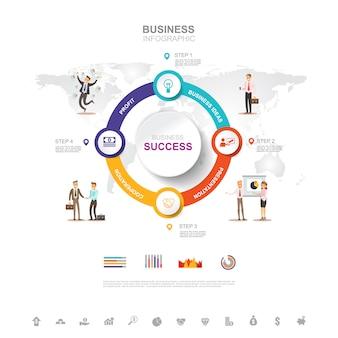 Business infographic concept de réussite commerciale avec graphique