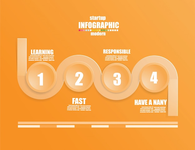 Business infographic template le concept les marches d'escalier. intensifiez la couleur orange.
