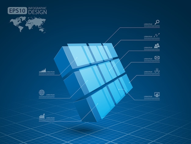 Business infographie cube 3d, vector