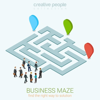Business labyrinthe puzzle plat 3d web