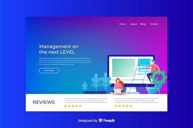 Business landing page avec illustration