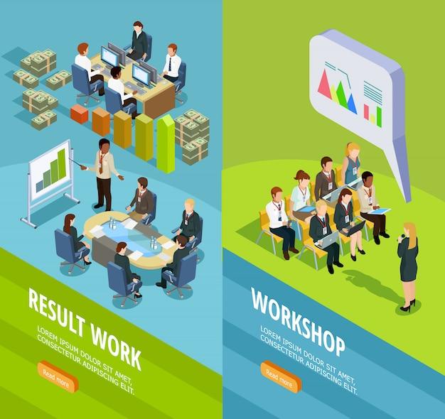 Business learning bannières verticales isométriques