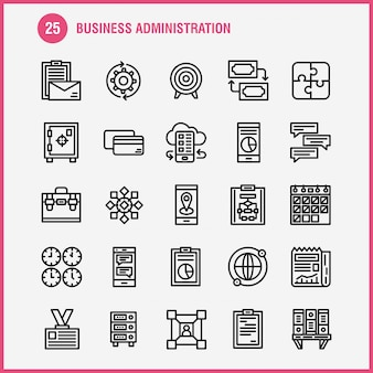 Business line icon pack: jeux, casse-tête, business, business, cog, gear, optimisation, mobile