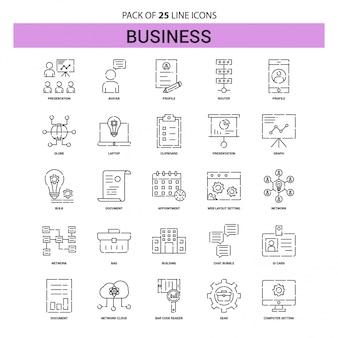 Business line icon set - 25 style de contour en pointillés