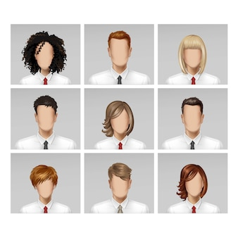 Business male female face avatar profile head hair tie icon set sur fond