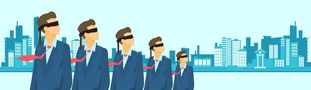 Business man group porter bandage les yeux bandés