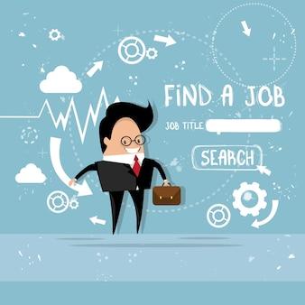 Business man trouver un emploi curriculum vitae