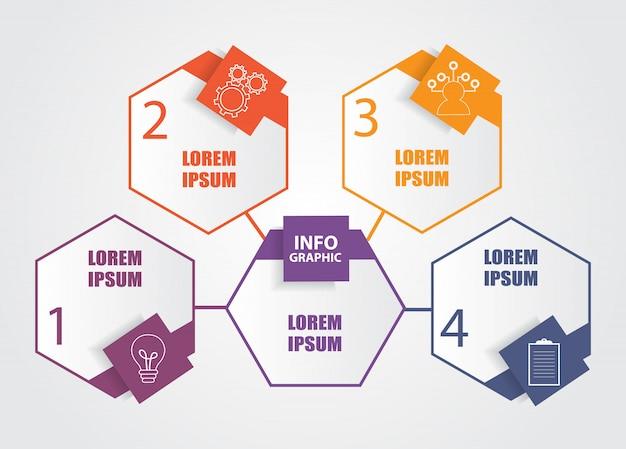 Business modèle infographique avec 4 étapes