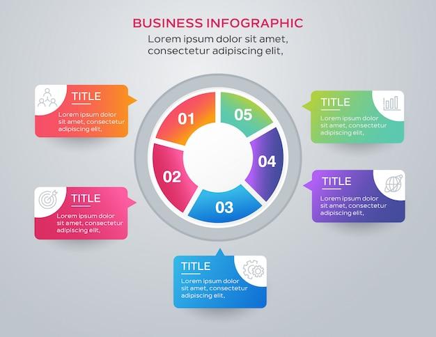 Business modèle infographique avec 5 étapes