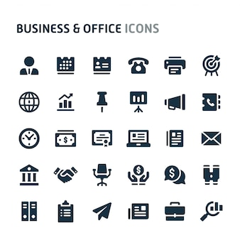 Business & office icon set. série d'icônes fillio black.