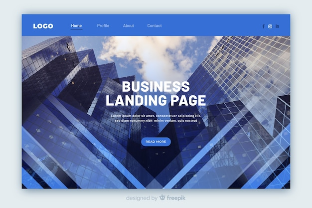 Business page de destination avec photo en angle faible