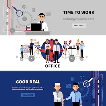 Business people 3 set de bannières plates