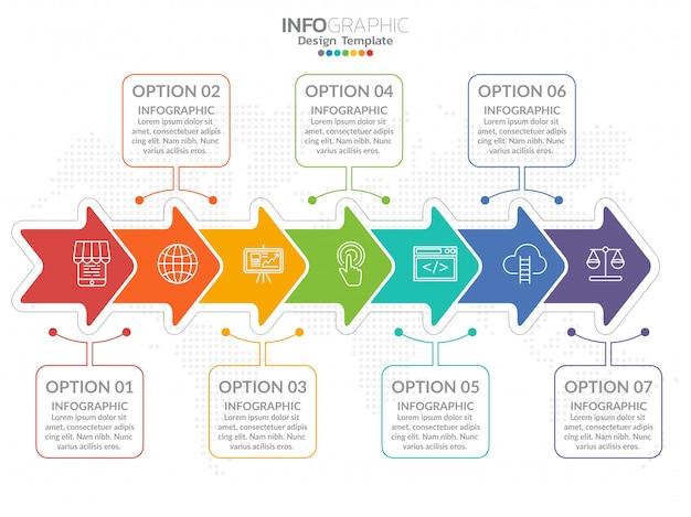 Business process process chart infographics avec l'étape.