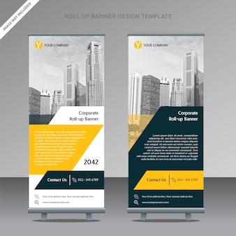 Business roll up banner design modèle couche trapézoïdale organisée