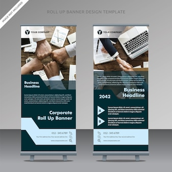 Business roll up banner design modèle sombre tosca, couche organisée