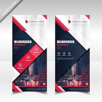 Business roll up banner - modèle de disposition de conception verticale - rouge bleu marine - couleur blanche