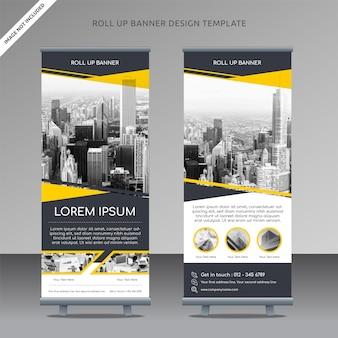 Business roll up banner modèle jaune slash couche propre et organisée