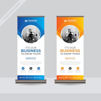 Business roll up banner, standee business banner template premium