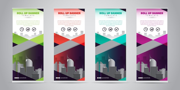 Business roll up banner. standee design