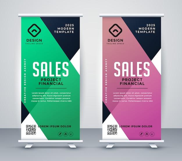 Business roll up bannière ou modèle de conception de voyageur debout
