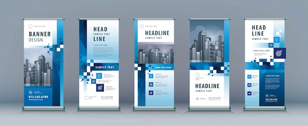 Business rollup set. standee design. modèle xbanner