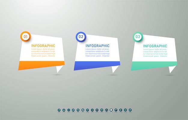 Business template 3 élément ou étapes élément de graphique infographique.