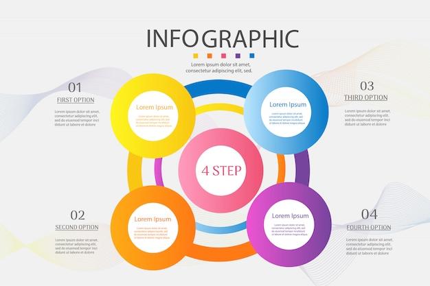Business template 4 élément ou étapes élément de graphique infographique.