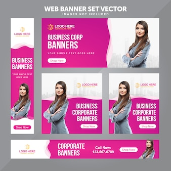 Business web banner set modèles de fond de vecteur