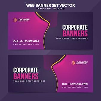 Business web banner set modèles de fond de vecteur