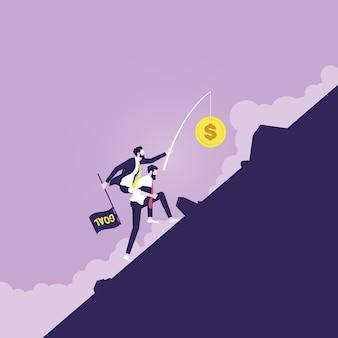 Businessman carrying manager jusqu'à l'objectif représentant des incitations à gagner