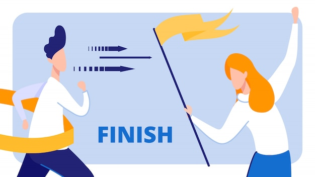 Businessman crossing finish line, girl with flag.