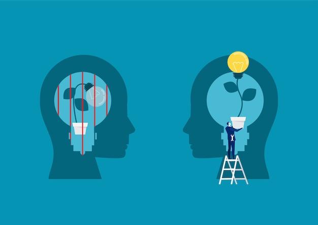 Businessman holding ampoule pour mettre pense croissance mentalité différent concept de mentalité fixe